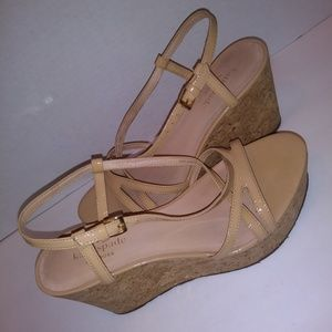 Kate Spade Nude Patent Leather Wedge Sandal 6 1/2M
